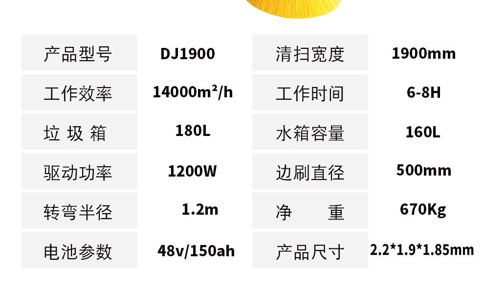 DJ1900Z 电动驾驶式扫地车参数