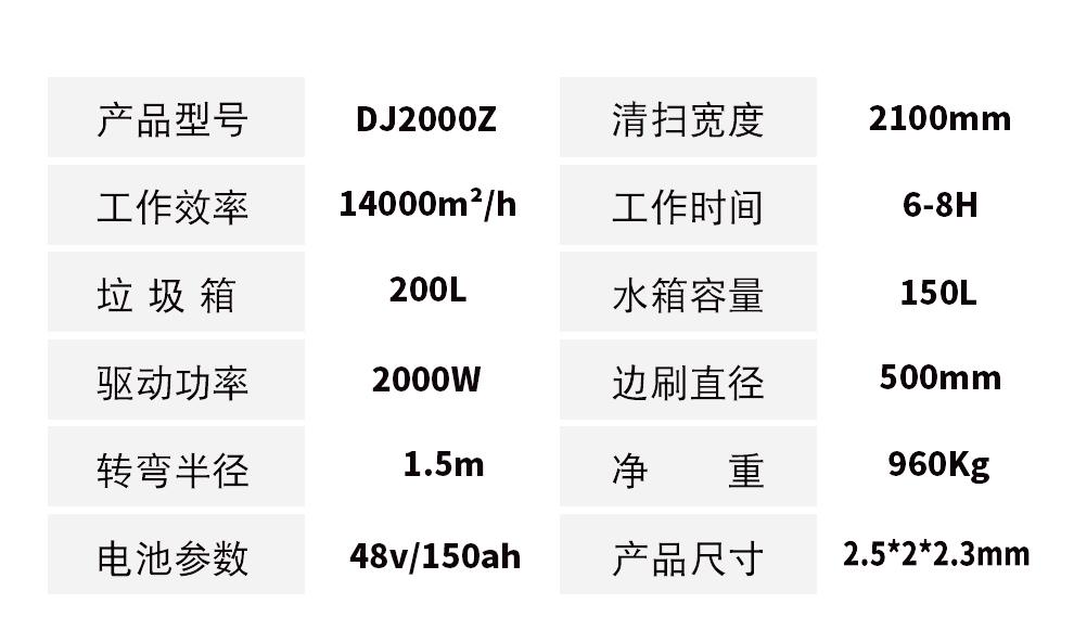 DJ2000Z驾驶式扫地机  电动清扫车价格